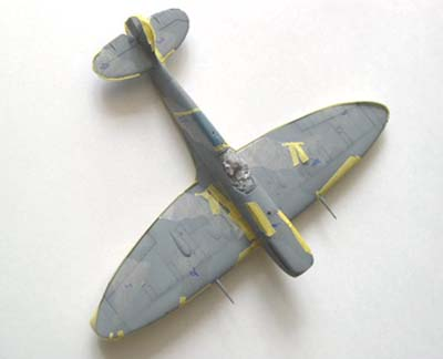 masking applied to scale model spitfire