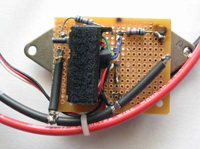 bottom of electronic speed controller showing recycled servo and resistors