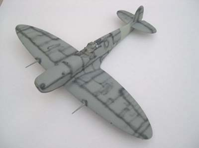 scale model pre-shaded with airbrush